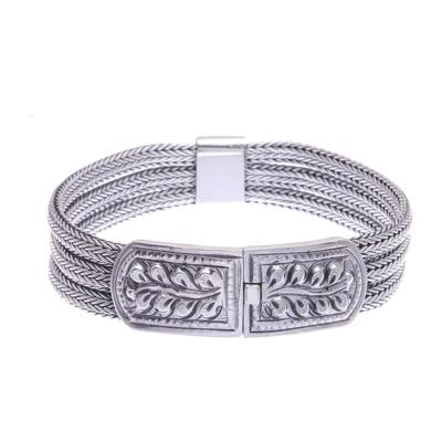 Men's sterling silver bracelet, 'Wheat' - Mens Sterling Silver Braided Bracelet and Medallion Thailand