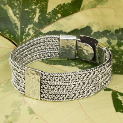 Men's sterling silver bracelet, 'Rushing River' - Intricate Men's Braided Bracelet of Thai Sterling Silver