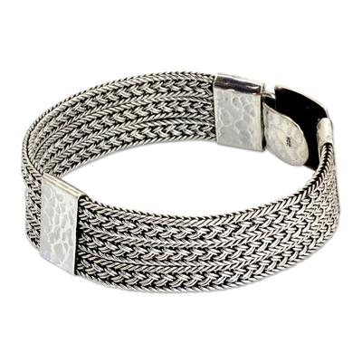 Men's sterling silver bracelet, 'Rushing River' - Intricate Men's Braided Bracelet of Thai Sterling Silver