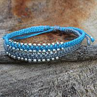 Braided wristband bracelet, 'Blue-Gray Urban Siam' - Artisan Braided Bracelet with Silver Plated Beads