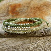 Braided wristband bracelet, 'Green Urban Siam' - Artisan Crafted Braided Bracelet with Silver Plated Beads
