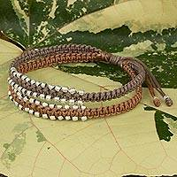 Braided wristband bracelet, 'Khaki Brown Urban Siam' - Thai Braided Bracelet