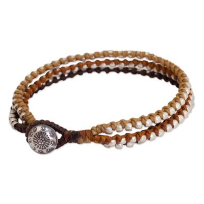 3-in-1 Bracelet with Silver Plated Beads Hill Tribe Jewelry