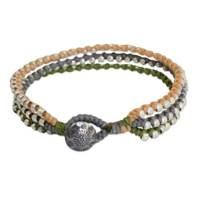 Hill Tribe Jewelry Bracelet in Peach Gray and Green