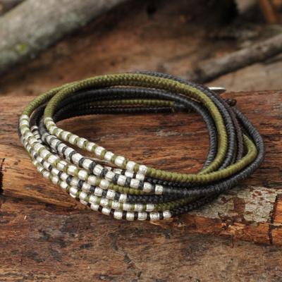 Braided wrap bracelet, 'Karen Khaki Chic' - Brown Khaki Grey Wrap Bracelet with Silver Accents