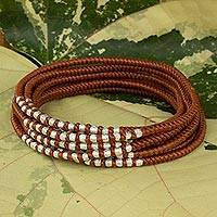 Braided wrap bracelet, 'Karen Honey Chic'