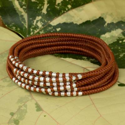 Braided wrap bracelet, 'Karen Honey Chic' - Hand Knotted Wrap Bracelet with Silver Accents
