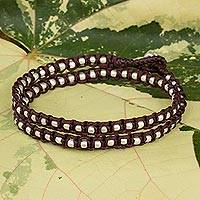 Braided wrap bracelet, 'Floral Moon in Burgundy' - Silver Accents Wrap Bracelet Thai Hill Tribe Jewelry