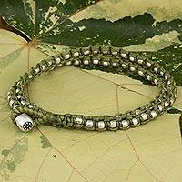 Braided wrap bracelet, 'Floral Moon in Green' - Wrap Bracelet from Hill Tribe Artisan Jewelry