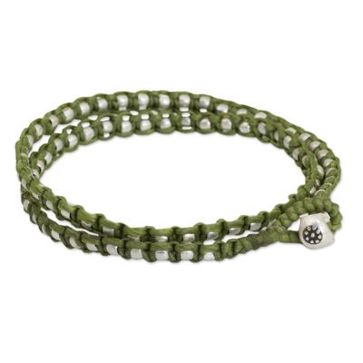 Braided wrap bracelet, 'Floral Moon in Green' - Wrap Bracelet from Hill Tribe Artisan Jewelry