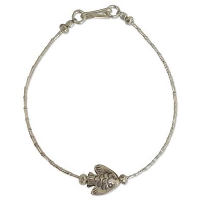 Silver beaded bracelet, 'Hill Tribe Fish' - Thai Karen Hill Tribe Silver Bracelet