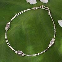 Silver beaded bracelet, 'Hill Tribe Trio'