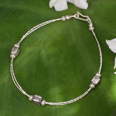 Silver beaded bracelet, 'Hill Tribe Trio' - Fine Silver Bracelet with Karen Hill Tribe Beads