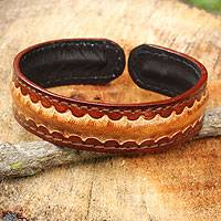Men's leather cuff bracelet, 'Solar Warrior' - Artisan Crafted Leather Bracelet for Men