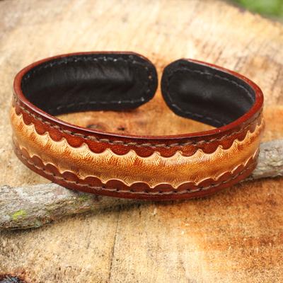 Men's leather cuff bracelet, 'Solar Warrior' - Artisan Crafted Leather Bracelet for Men