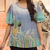 Cotton batik blouse, 'Forest Owl' - Cotton Batik Owl Print Blouse