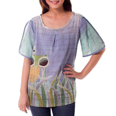 Cotton batik blouse, 'Forest Owl' - Cotton Batik Owl Print Blouse