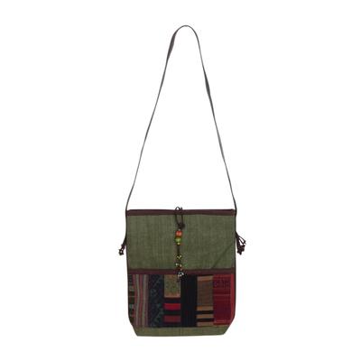 Novica Leather accent cotton shoulder bag, Dokmai Gold - Hill Tribe Patchwork Shoulder Bag from Thailand