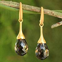 Gold platedl smoky quartz dangle earrings, 'Delicate Drops' - Artisan Crafted Gold Plated Smoky Quartz Earrings