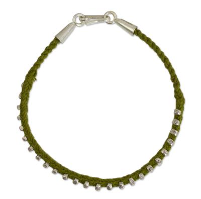Macrame Bracelet with Hill Tribe Silver