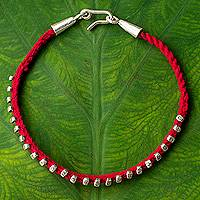 Silver braided bracelet, 'Red Karen Flowers' - Braided Bracelet with Hill Tribe Silver