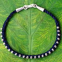 Silver braided bracelet, 'Blue Karen Flowers' - Hand Knotted Cotton with Thai Hill Tribe Silver Beads