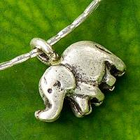 Silver pendant necklace, 'Little Thai Elephant' - Fine Silver Necklace with an Elephant Pendant
