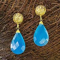 Gold vermeil dangle earrings, 'Blue Serenade' - Artisan Jewelry Gold Vermeil Chalcedony Handcrafted Earrings