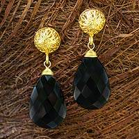 Gold vermeil and agate dangle earrings, 'Black Serenade' - Artisan Jewelry Agate and Gold Vermeil Handcrafted Earrings
