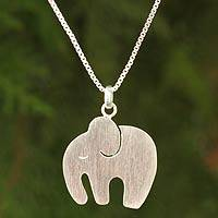 Sterling silver pendant necklace, 'Kind Elephant' - Thai Artisan Sterling Silver Necklace Jewelry