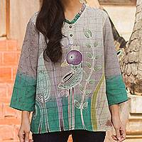 Cotton batik tunic, 'Purple Bird'