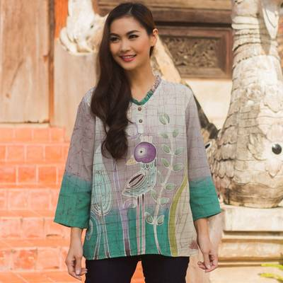 Cotton batik tunic, 'Purple Bird' - Cotton Batik Bird Print Blouse