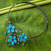 Multi-gem flower necklace, 'Turquoise Sonata' - Floral Handcrafted Multigem Glass Bead Necklace