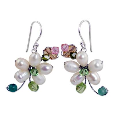 Pearl flower earrings, 'Frangipani Glam' - Pearls and Gems Earrings Artisan Crafted Thai Jewelry