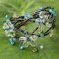 Multi-gemstone flower cuff bracelet, 'Blue Sonata' - Floral Cuff Bracelet Artisan Crafted Beaded Jewelry