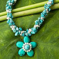 Cultured pearl flower necklace, 'Flourishing Star' - Pearls and Blue Calcite Necklace Thai Floral Jewelry