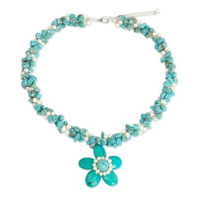 Pearls and Blue Calcite Necklace Thai Floral Jewelry