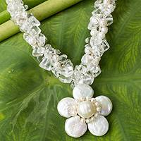 Cultured pearl flower necklace, 'Flourishing Frangipani' - Pearls Flower Necklace Thai Floral Jewelry