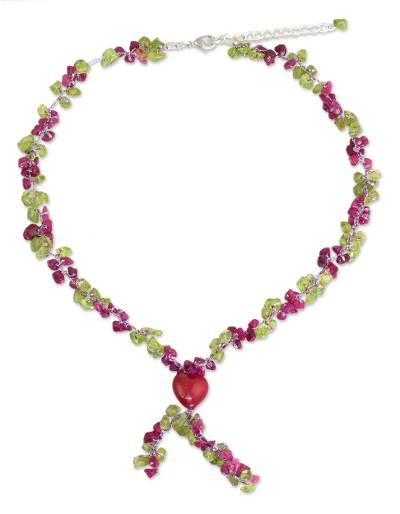 Peridot and Dyed Quartz Beaded Necklace from Thailand