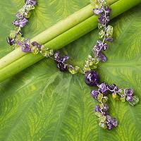 Peridot and amethyst Y necklace, 'Spring Iris' - Precious Stone and Silver Braided Necklace from Thailand