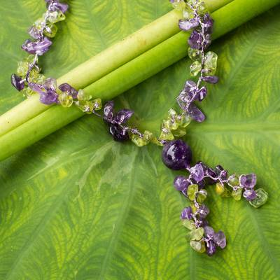 Peridot and amethyst Y necklace, 'Spring Iris' - Peridot and Amethyst Beaded Necklace from Thailand