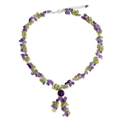 Peridot and Amethyst Beaded Necklace from Thailand