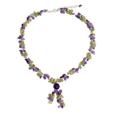 Peridot and amethyst Y necklace, 'Spring Iris' - Peridot and Amethyst Beaded Necklace from Thailand