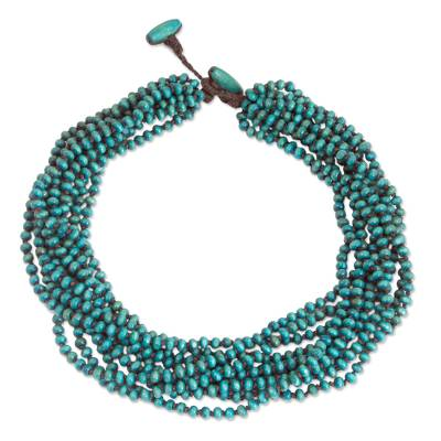 Blue Torsade Necklace Wood Beaded Jewelry