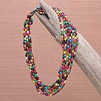 Wood torsade necklace, 'Songkran Belle' - Unique Hand Knotted Multicolored Necklace
