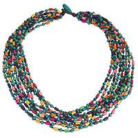 Wood torsade necklace, 'Siam Belle' - Colorful Beaded Necklace Hand Knotted Jewelry