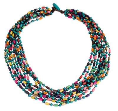 Colorful Beaded Necklace Hand Knotted Jewelry