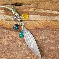 Silver and chrysocolla pendant necklace, 'Natural Inspiration' - Silver and Multi-gemstone Necklace Artisan Jewelry
