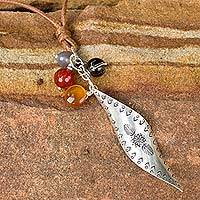 Silver and smoky quartz pendant necklace, 'Natural Inspiration' - Multi-gems and Silver Pendant on Hand Crafted Necklace