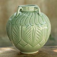 Celadon ceramic vase, 'Sawankhalok Muse' - Leaf Motif Celadon Vase